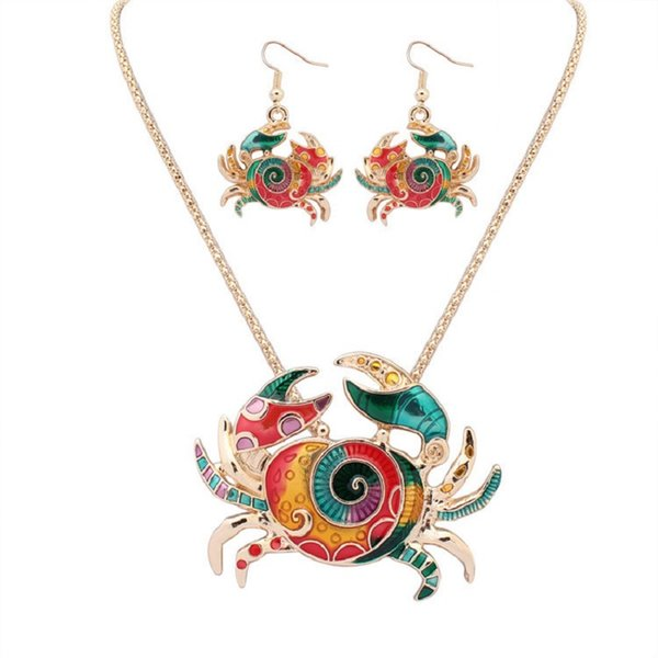 cancer jewellery set dangle necklace earring set chandelier hook fashion earring and necklace for women colorful crab drop silver gold chain