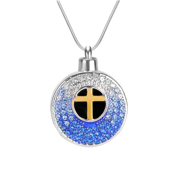 Lily Urn Necklace Cross Blessed Crystal Memorial Keepsake Pendant Cremation Jewelry with Gift Bag and Funnel