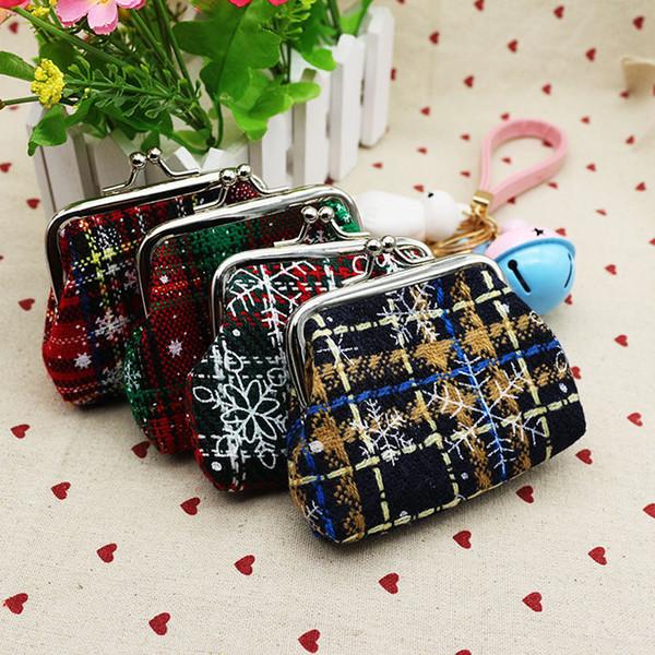 Chrismas gift coin purse key wallet fashion snow canvas women's handbag 9*7cm plaid coin bags 4 styles lqb-005