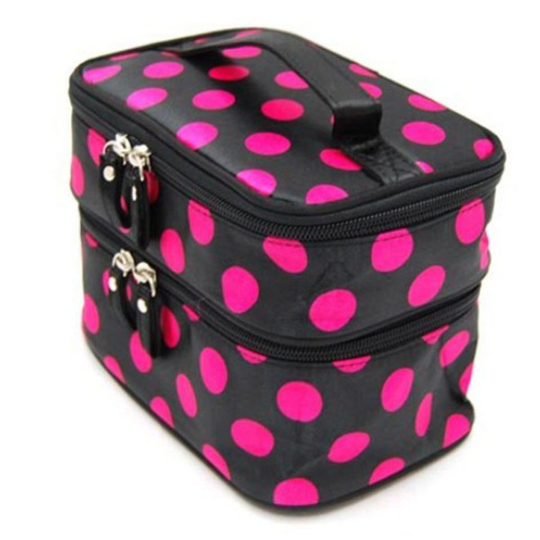Wholesale- Korean Brand Design large-capacity multifunction travel Cosmetic Hand Bag Chic Lady Wave Dot Makeup Double Tool Storage Toiletry