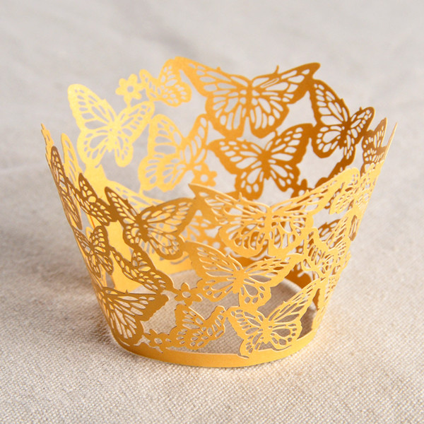 50PCS/Lot free shipping Laser Cut Beautiful butterfly shape Wedding Birthday Cupcake Wrappers Baking Cup Liners Home Garden Party Decoration