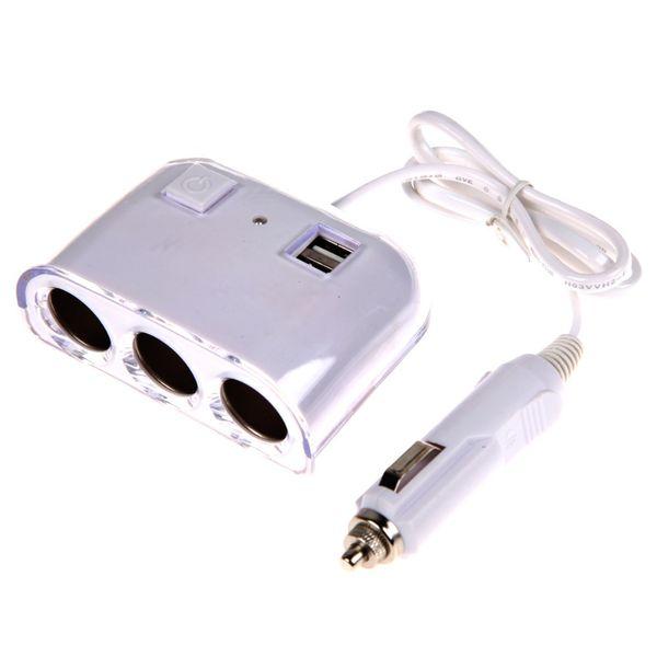 Al por mayor- 12V - 24V 3 Way Multi Socket Car Charger Vehicle Auto del cigarrillo del coche encendedor Splitter Dual USB Ports Plug Adapter