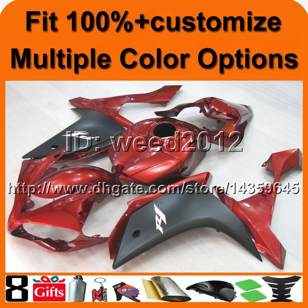 23colors+8Gifts Injection mold RED aftermarket motorcycle cowl for Yamaha YZF-R1 2007-2008 YZFR1 07-08 ABS Plastic Fairing