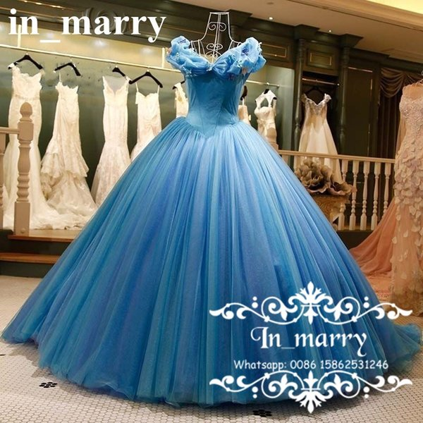 Romantic Cinderella Ball Gown Wedding Dresses 2017 Off Shoulder Puffy Tulle Skirt 3D Butterfly Victorian Princess