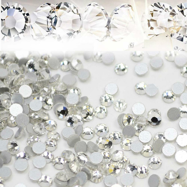best selling 1440pcs lot Nail Art Glitter Rhinestones White Crystal Clear Flatback DIY Tips Sticker Beads Nail Jewelry Accessory