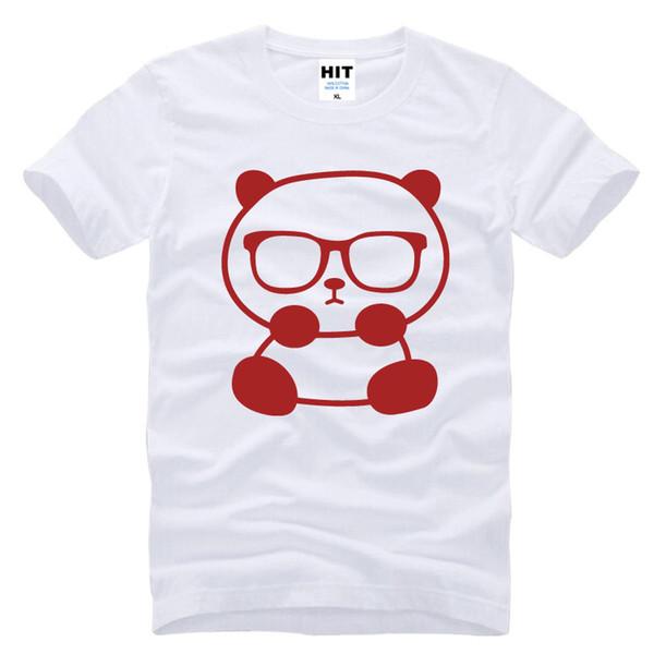 Pequeño panda con gafas de sol lindo divertido impreso hombres camiseta de los hombres camiseta 2017 nueva moda manga cuello de algodón camiseta camiseta