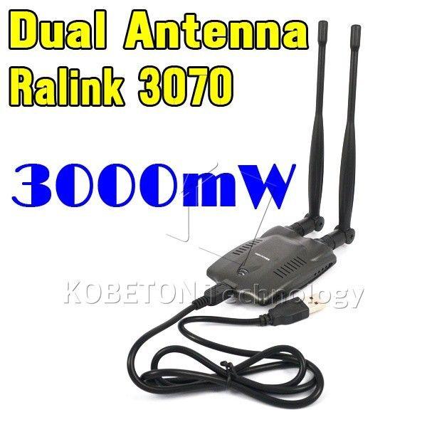 2016 Sans fil Beini Gratuit Internet Longue Portée 3000mW Double Antenne Wifi Blueway USB Wifi Adaptateur Décodeur Ralink 3070 BT-N9100