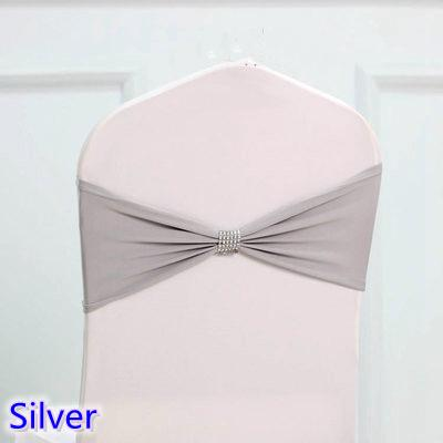 Grey silver colour tie bands Lycra sash chair sash Bow tie ribbon For Wedding Party Banquet Decoration for sale with shiny belt