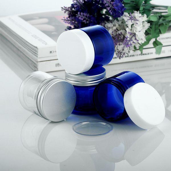 30pcs / lot 50g color azul tarros de crema de PET embalaje cosmético con tapa de aluminio vacía botella de muestra clara tarro de caja con tapa de plástico