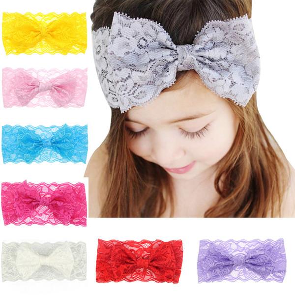 Kızlar için bebek Saç Aksesuarları Dantel Yaylar Çiçek Bantlar Bebek Büyük Yay Elastik Hairbands Çocuk Vintage Kafa Wrap Parti Headdress