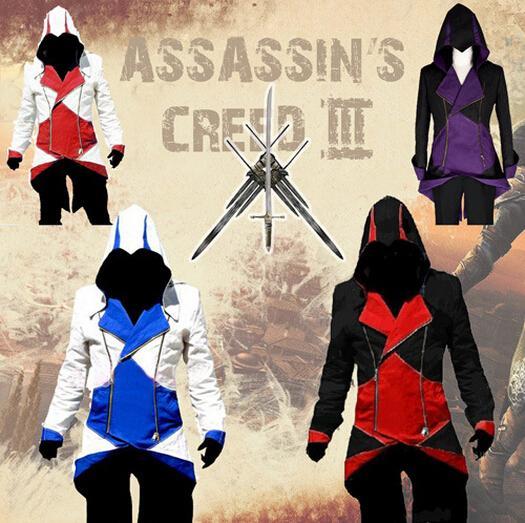 Atacado-Assassin's Creed Connor casaco vermelho casaco preto modelos Cosplay uniforme de roupas masculinas
