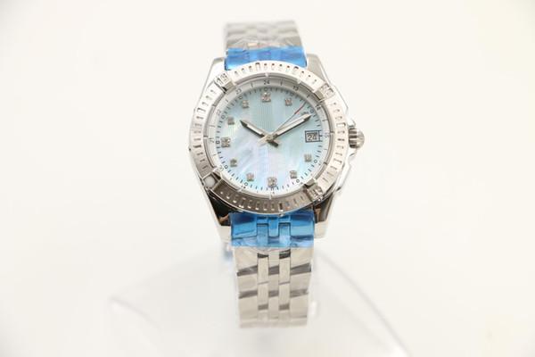 Fashion luxury brand 35MM Casual quartz movement diamond womens women watch watches ladies wristwatch blue shell dial with date window 1884
