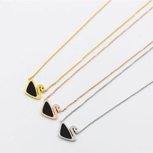 Yeni siyah kuğu Beyaz Kabuk Kolye Kore kabukları titanyum takı fabrika fiyat toptan zincir çelik kemik