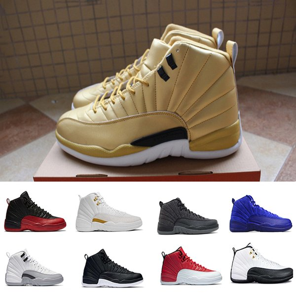 2019 12 Basketball Shoes Wool Pinnacle Metallic Gold white Deep Royal Blue GS Barons Flu Game Taxi the master sneakers