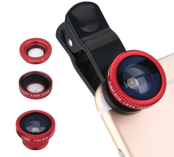 Universal 3 in1 Fish Eye+ Wide Angle + Macro Camera Clip-on Lens for For iPhone 7 Samsung Galaxy S7 HTC Huawei All Phones fisheye