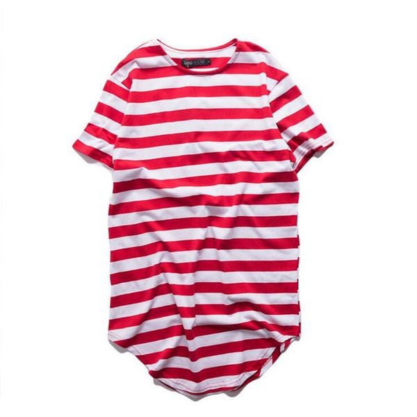 New harajuku hip hop t shirt men striped extended t-shirt oversized streetwear men skate tee shirts swag clothes camisetas