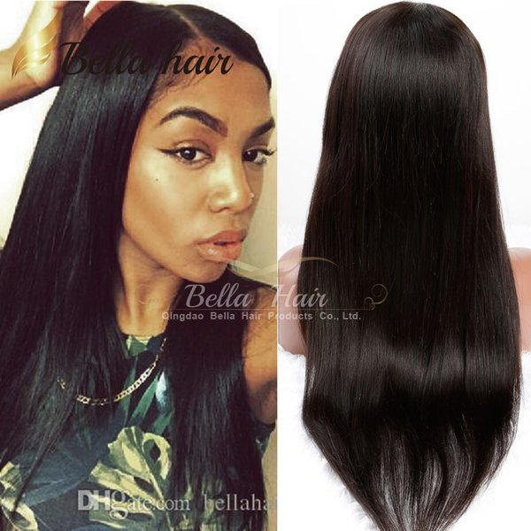 best selling Lace Front Wigs Virgin Unprocessed Human Hair Lace Wigs Natural Color Middle Part Straight DHL Free Shipping Bellahair