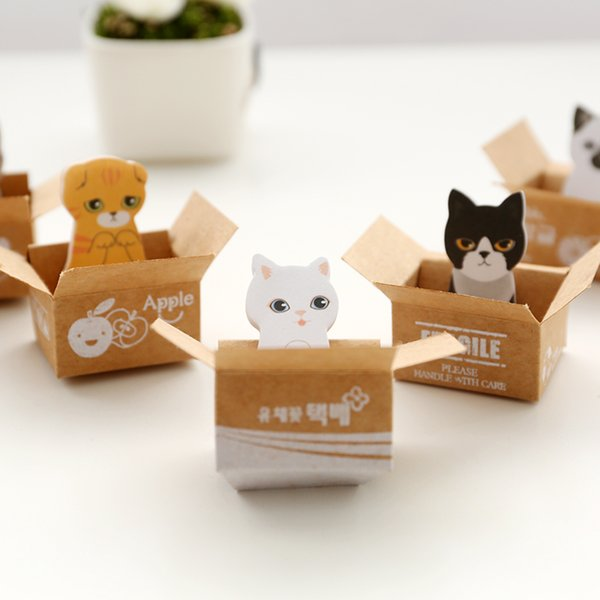 top popular Kawaii Cute Carton Cat Kitty Memo Pads Sticky Notes Stickers Label Stick School Office Stationery Message Planner Writing.30pcs\ 2020