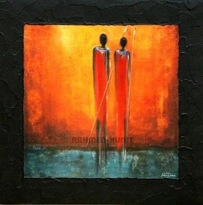Framed Valerie Delmas: Two Native Afrika Figuren,Pure Hand Painted Abstract Wall Art Oil Painting On Canvas.Multi sizes Ab137