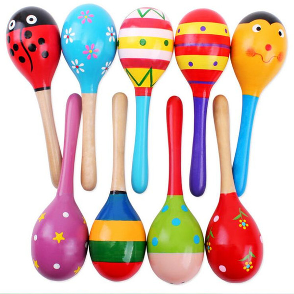 Venta caliente Bebé Juguete de Madera Sonajero Bebé lindo Sonajero juguetes Orff instrumentos musicales Juguetes Educativos L001
