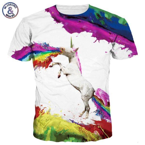 Mr.1991INC New Stylish Men/women 3d T-shirts Print Rainbow Flying Horse Spray Paint Quick Dry Tshirts Summer Tops Tees