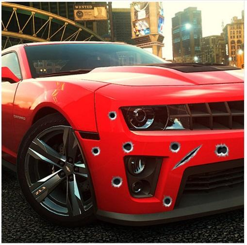 Car Styling 3D Fake Bullet Hole Gun Shots Funny Car Helmet Stickers Decals Emblem Symbol Creative personalized Stickers