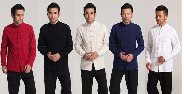 Young man dress long sleeve shirt retro buckle bottoming shirt cotton and linen meditation clothes Chinese dress shirt