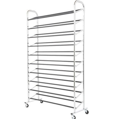 50 Pair Free Standing 10 Tier Shoe Tower Rack Chrome Metal Shoe Rack