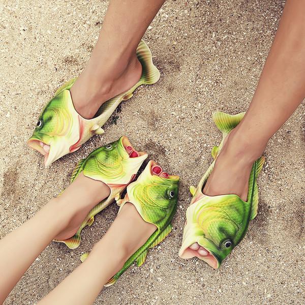 2017 Novelty Design Fish Shape Unisex Slippers Summer Fashion Sandals Flats Beach Shoes Woman Men Rubber Beach Slippers Chaussures Homme