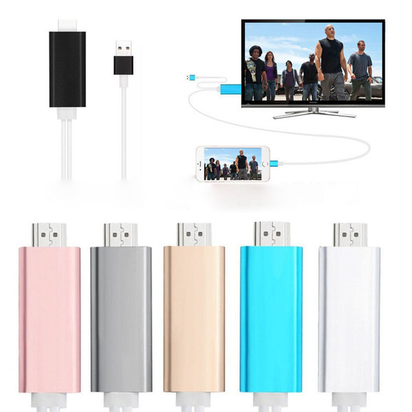 Dock to HDMI HDTV TV Adapter USB Cable 1080P for iPhone 5/5S/6/6S/6PLUS /6S PLUS7/7plus HDMI Cable with retail box