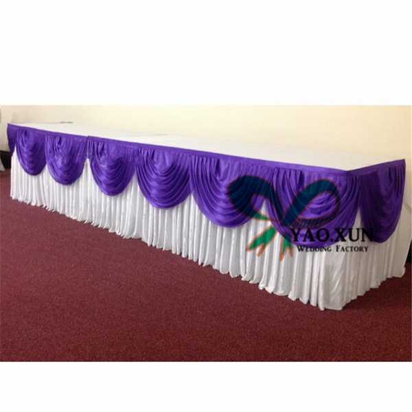 top popular White Color Ice Silk Table Skirt With Purple Swags For Wedding Decoration 2020