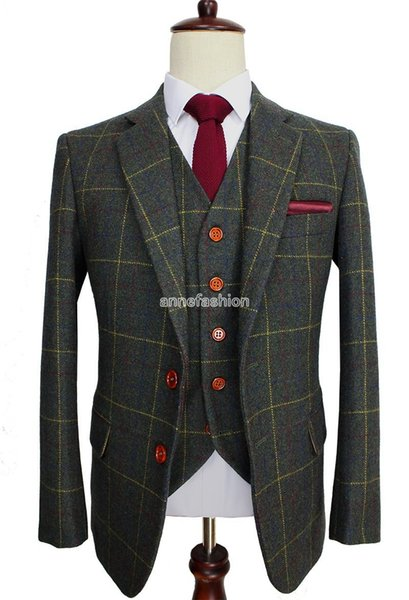 Wool Green Check Tweed Custom Made Men suit Blazers Retro tailor made slim fit wedding suits for men 3 Piece