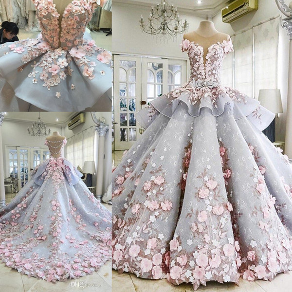 Michael cinco uperb ball gown garden wedding gown handmade flower 3d floral applique puffy prince lace wedding dre e tiered kirt, White