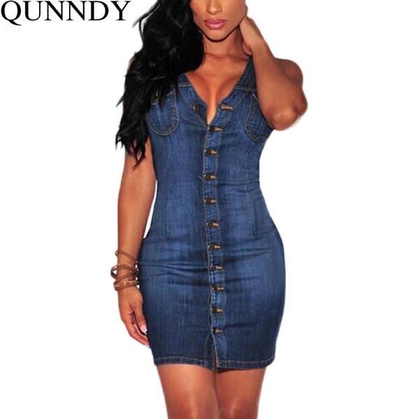 Tallas grandes Ropa de mezclilla Vestido de la vendimia del verano sin mangas delgados Sexy Bodycon Casual Jeans Party Club Vestidos Vestidos q170716