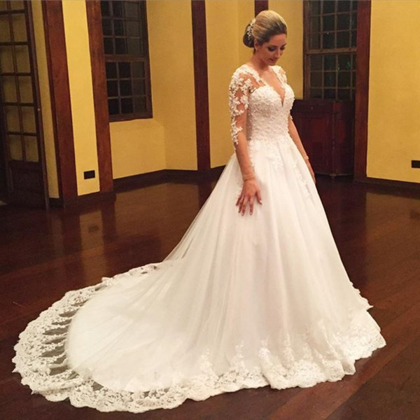 Vintage Plus Size Wedding Dresses 2019 For Russian Appliques Tulle Long Sleeve Puffy Actual Image Princes Lace Bridal Gowns
