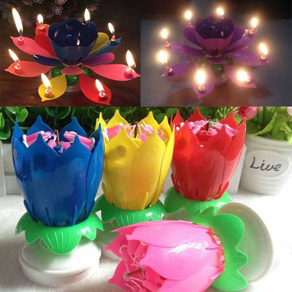 best selling New Colorful Petals Music Candle Children Birthday Party Lotus Sparkling Flower Candles Squirt Blossom Flame Cake Accessory Gift WX9-104