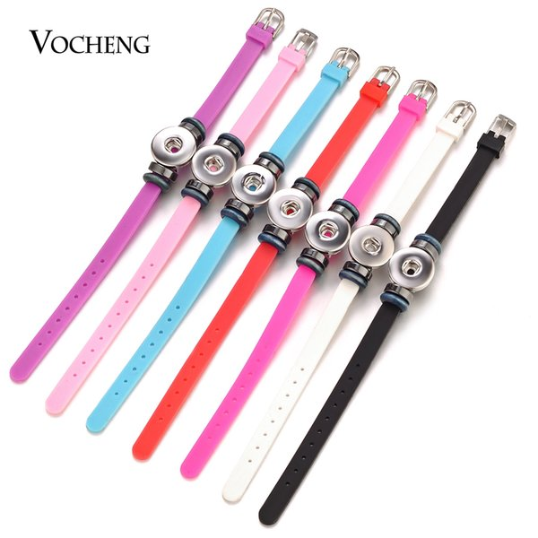 VOCHENG NOOSA Ginger Snap Charms Bracelet Mix Colors Adjustable Colorful Silicone for 18mm Button Jewelry NN-599