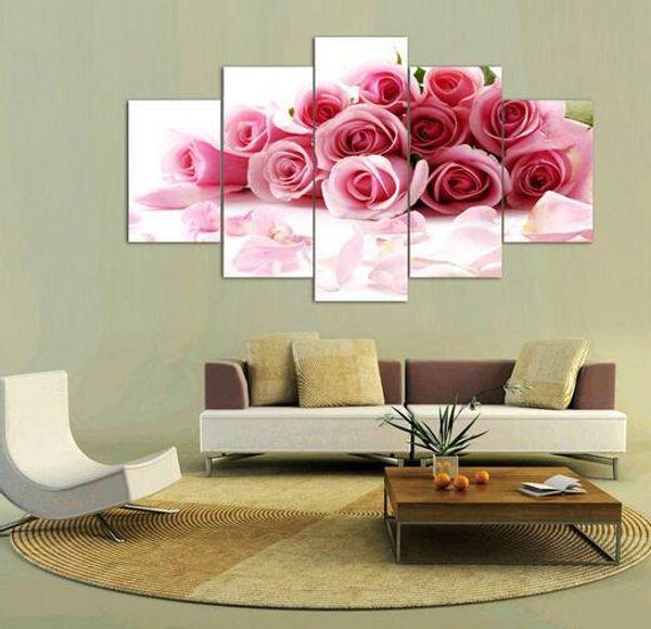 Pintura a óleo Fallout 2016 Pintura Rose Imprimir Flores de Lona Arte Da Parede Home Decor Sala de estar Sem Moldura 5 Peças / set
