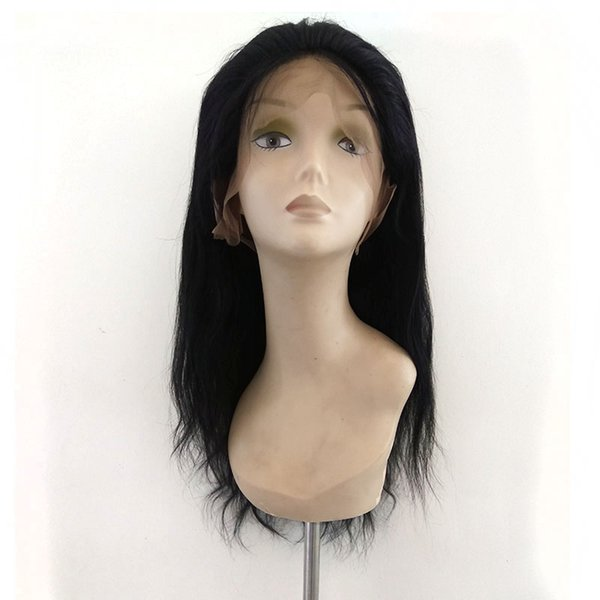 qingdao wig factory supply 150% density 8-28 natural straight #1 color cheap brazilian lace front wig human hair for sale