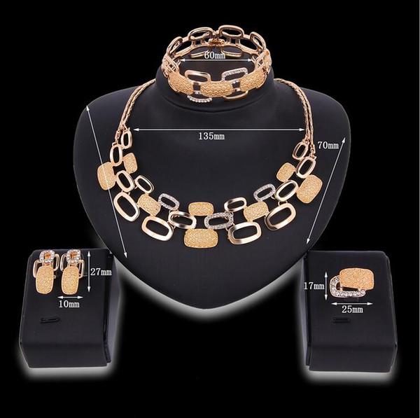 5 satz Halskette Ohrringe Armreif Schmuck-Set Luxus Frauen Strass 18 Karat Gold Überzogene Legierung Kreise Partei Schmuck 4-teiliges Set F10305
