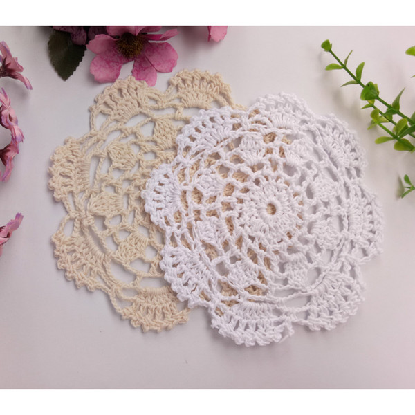 Free Shipping 50pcs/lot Wholesale DIY Household Handmade Flower Crochet Doilies Round Cup Mat Pad 14-15.5cm Coaster Placemats