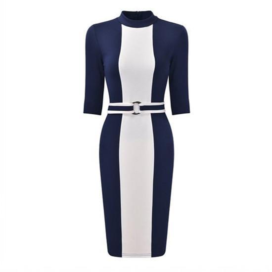 2017 occupation leisure pencil vestidos and vertical stripe color dress belt FD3360
