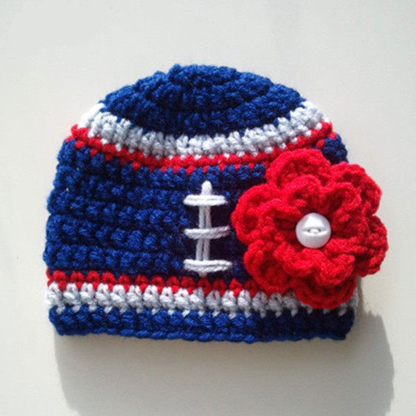 Crochet Football Hat Handmade Knit Baby Girl Football Team Beanie with Flower Infant Toddler Photo Prop Kids Winter Hat Baby Shower Gift