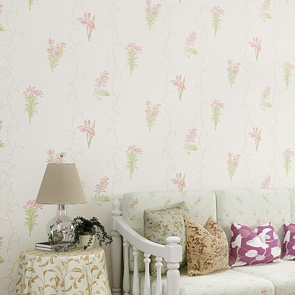 Moderne Pastorale Tapete Floral Non Woven 3D Wallpaper Design Rosa Tapeten für Schlafzimmer Wohnzimmer Wände 10m