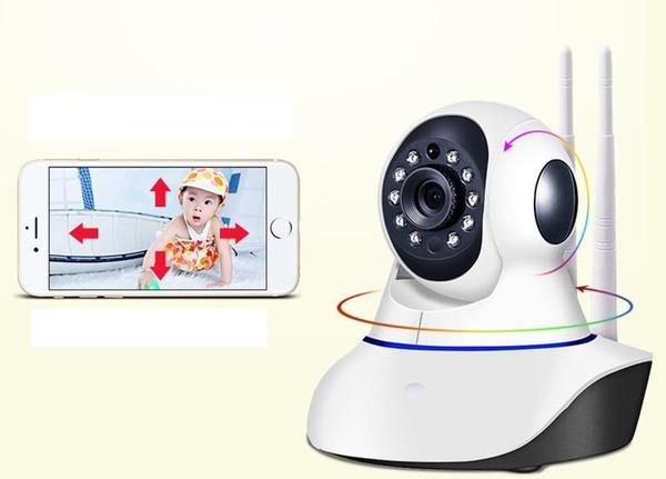 1PCS Double antenna Camera wireless IP camera WIFI Megapixel 720p HD indoor Wireless Digital Security CCTV IP Camera + 8G TF memory card