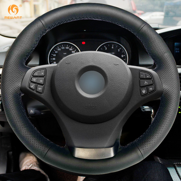 Mewant Hand-stitched Black Artificial Leather Car Steering Wheel Covers Wrap for BMW E83 X3 2003-2010 E53 X5 2004-2006