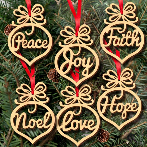 Christmas Letter Wood Heart Bubble Pattern Ornament Christmas Tree Decorations Home Festival Ornaments Hanging Gift 6pcs/lot