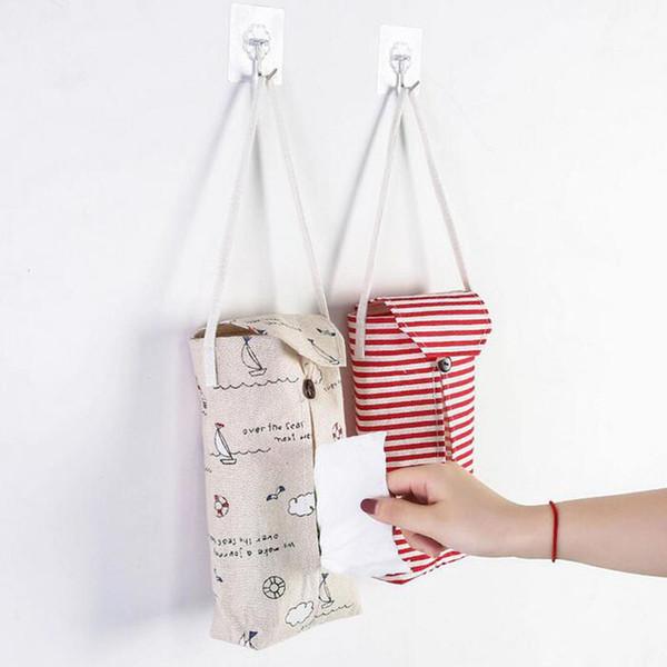 Creativo tipo di parete appeso scatola del tessuto per la decorazione domestica bagno portatovaglioli di carta supporto di stoccaggio auto sacchetto di lino ZA4142