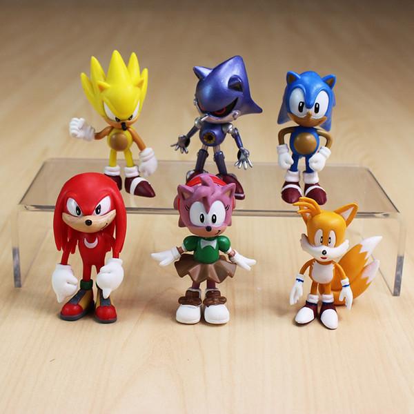 6pcs SEGA Sonic the Hedgehog Amy Tails Mephiles Knuckles Ação boneca PVC figura estatueta Play Set Toy Bolo Topper crianças presente