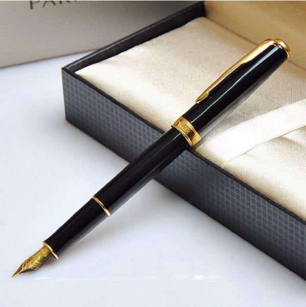 best selling gift Sonnet Black With Golden Trim M Nib Fountain Pen Crayons Pen
